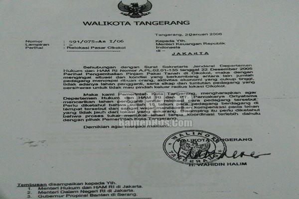 SURAT WAHIDIN HALIM MINTA RELOKASI EKS PEDAGANG PASAR CIKOKOL KE PASAR BABAKAN