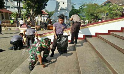 Polres Serang Kota dan Kodim 0602 Serang Bersihkan Masjid Ats-Sauro