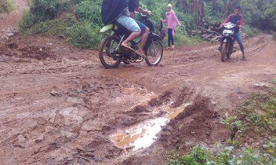 jalan pasuran-sadatani yang merupakan akses utama ke daerah penghasil durian di kabupaten serang rusak