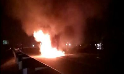 Mobil Terbakar di Tol Tangerang-Merak