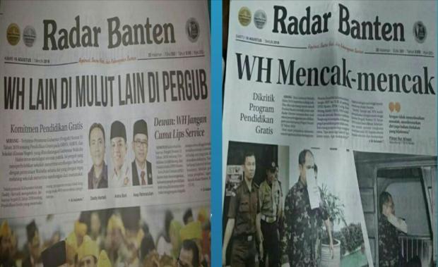 Berita-berita utama Koran Radar Banten mengkritik kebijakan Gubernur Banten Wahidin Halim.(FOTO: Google)