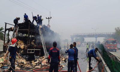 Truk Terbakar di Tol Tangerang-Merak