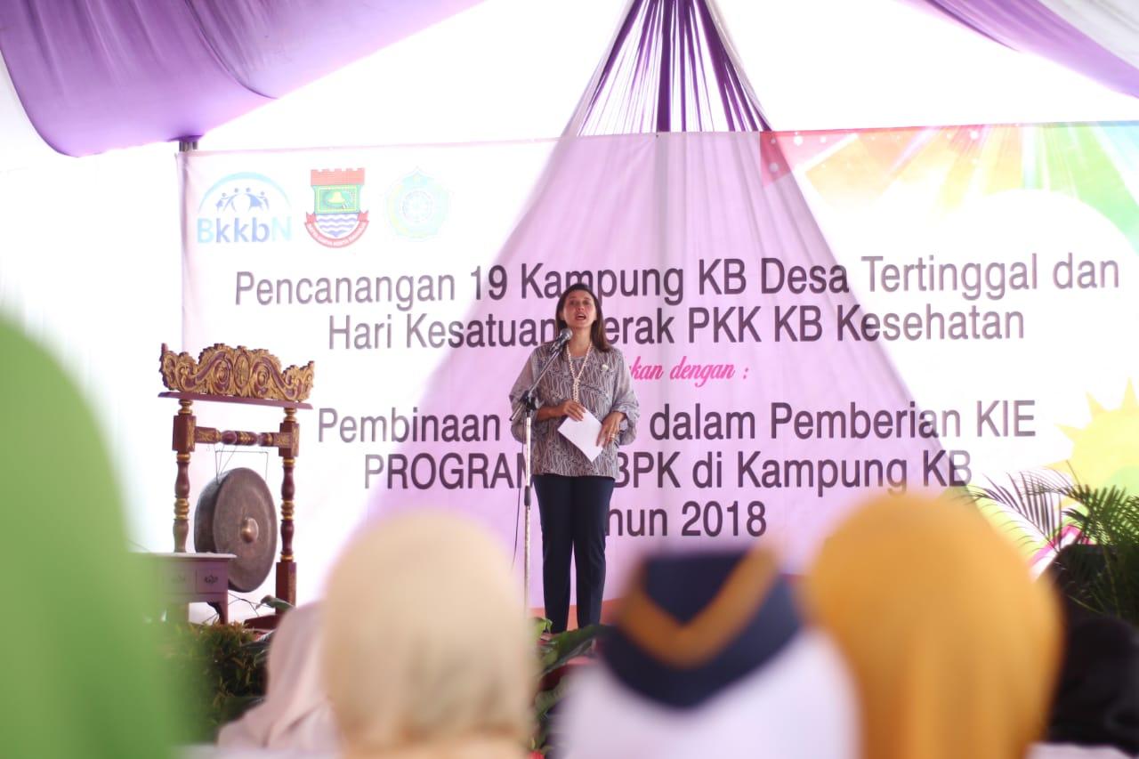 Ketua TP PKK Kabupaten Tangerang Yuli Zaki Iskandar saat pencanangan Kampung KB