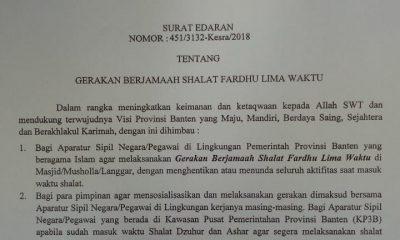 Surat EdaranGubernur Banten soal gerakan berjamaah