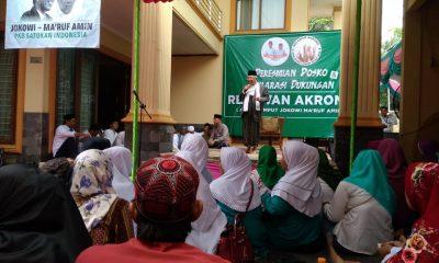 Ma'ruf Amin saat menghadiri Deklarasi Dukungan Relawan Akar Rumput Jokowi-Ma'ruf atau Akroma