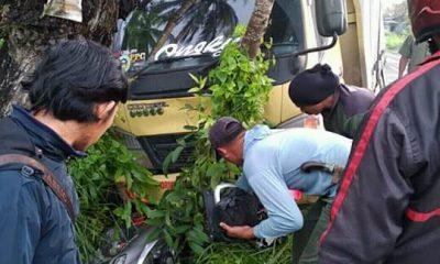 Ibu Hamil Tujuh Bulan Tewas Digilas Truk Pengangkut Hebel di Jalan Raya Panimbang-Tanjung Lesung