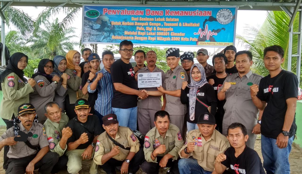 Gandeng RAPI 300301 Cimadur, Seniman Lebak Selatan Salurkan Bantuan Korban Bencana Sulteng