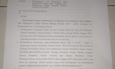 KPU RI Tiba-tiba Ambil Alih Seleksi Anggota KPU Lebak