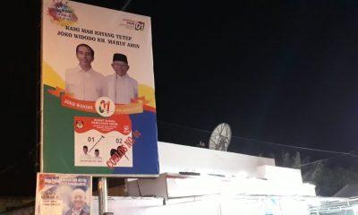 Billboard Jokowi-Ma'ruf di kawasan Balong Ranca Lentah