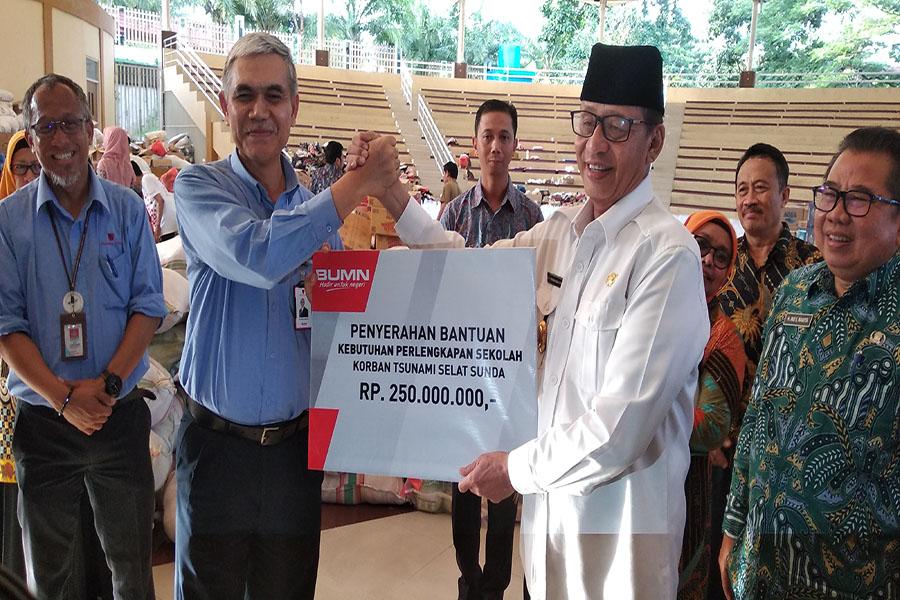 PT Krakatau Steel (Persero) Tbk Salurkan Bantuan Perlengkapan Sekolah untuk Korban Tsunami