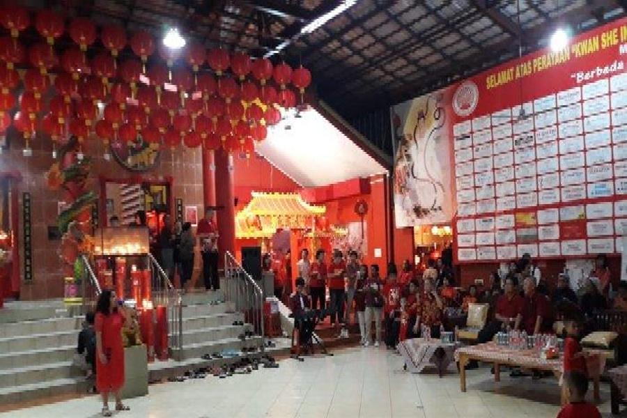 Perayaan Imlek 2570 di Vihara Kwan In Thang, Pamulang, Senin malam, 4 Februari 2019