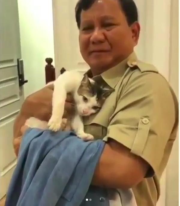 Prabowo Subianto dan kucingnya bernama Bobby