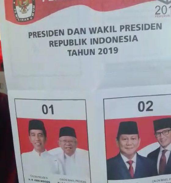 Surat suara Tercoblos jokowi-ma'ruf