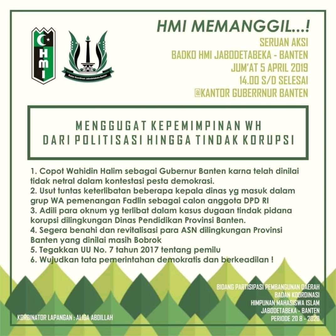 Seruan aksi HMI desak Gubernur Banten Mundur