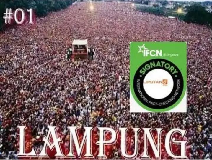 Foto hoaks lautan manusia saat Kampanye Jokowi di Lampung